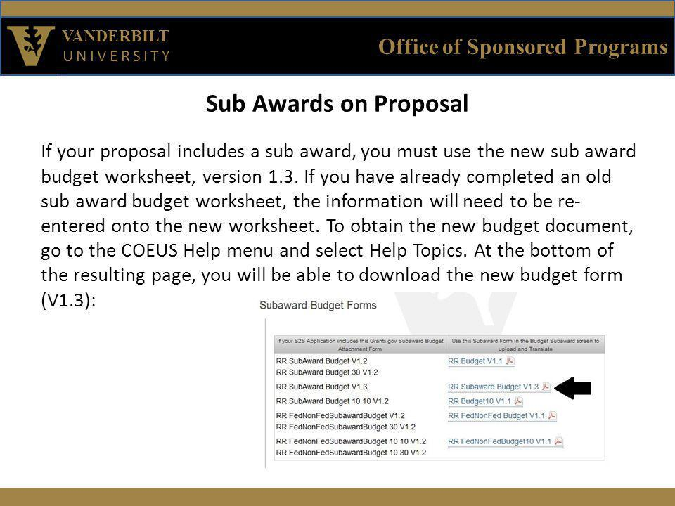 Office of Sponsored Programs VANDERBILT UNIVERSITY Sub Awards on Proposal If your proposal includes a sub award, you must use the new sub award budget worksheet, version 1.3.
