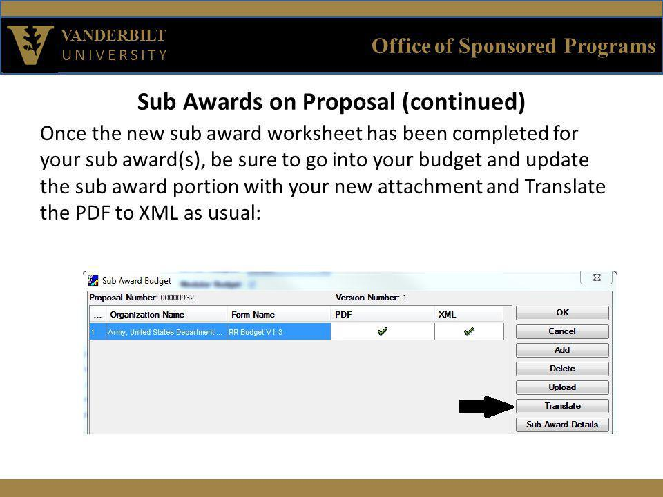 Office of Sponsored Programs VANDERBILT UNIVERSITY Sub Awards on Proposal (continued) Once the new sub award worksheet has been completed for your sub award(s), be sure to go into your budget and update the sub award portion with your new attachment and Translate the PDF to XML as usual: