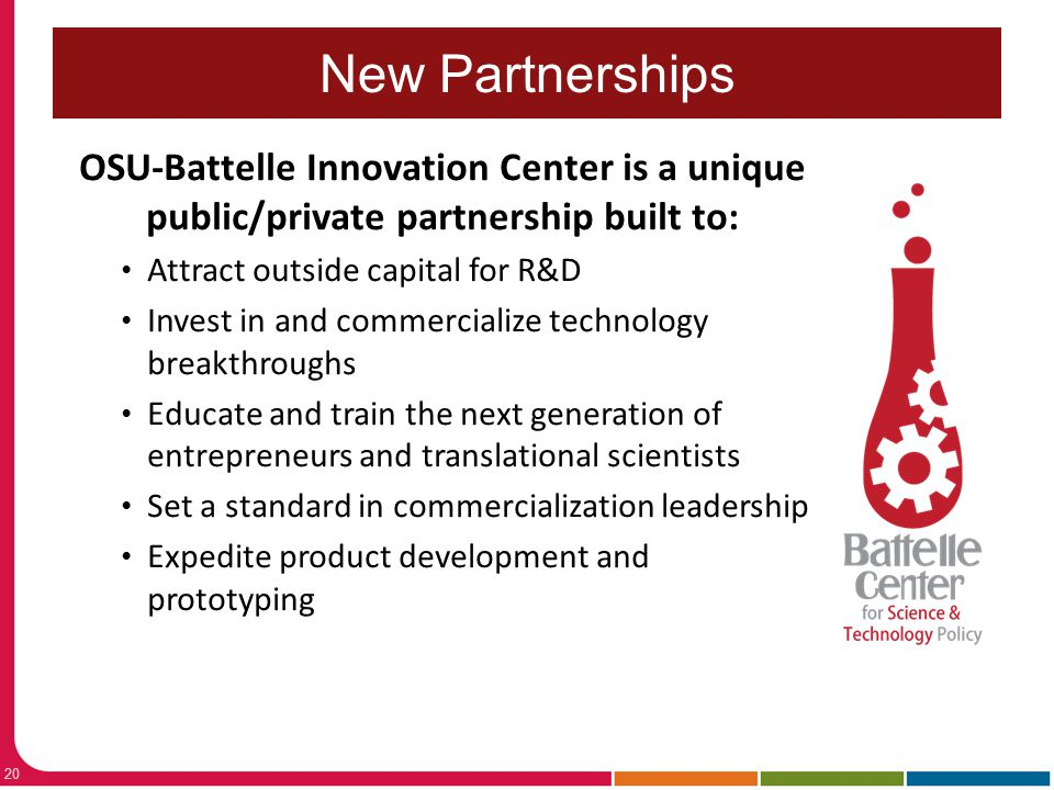 Economic Development Forum: Local & Regional Stakeholders Office of Research New Partnerships 20 OSU-Battelle Innovation Center is a unique public/pri