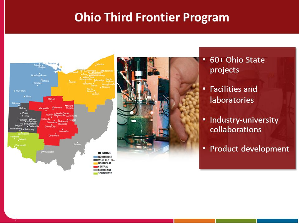 Economic Development Forum: Local & Regional Stakeholders Office of Research Ohio Third Frontier Program 7 –60+ Ohio State projects 60+ Ohio State pro