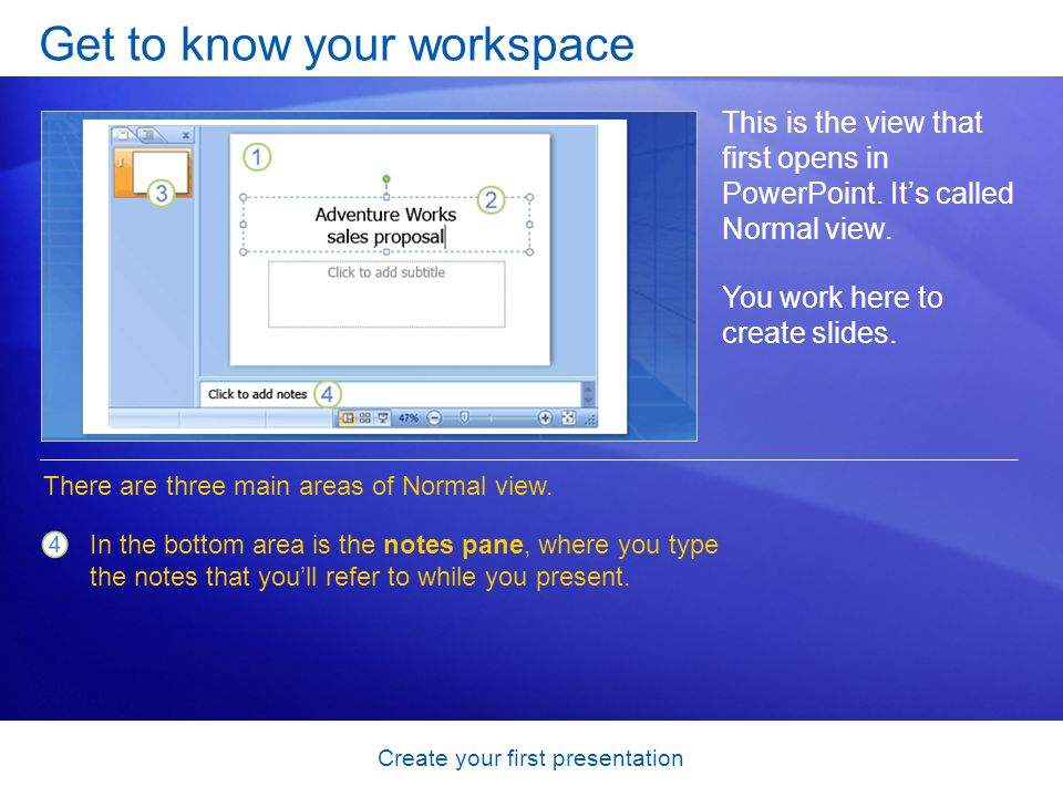 Create your first presentation Insert slides from another presentation You may need to use slides from an existing presentation in your show.