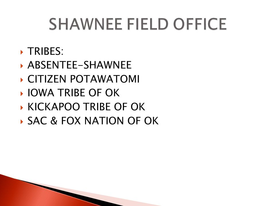 TRIBES: ABSENTEE-SHAWNEE CITIZEN POTAWATOMI IOWA TRIBE OF OK KICKAPOO TRIBE OF OK SAC & FOX NATION OF OK