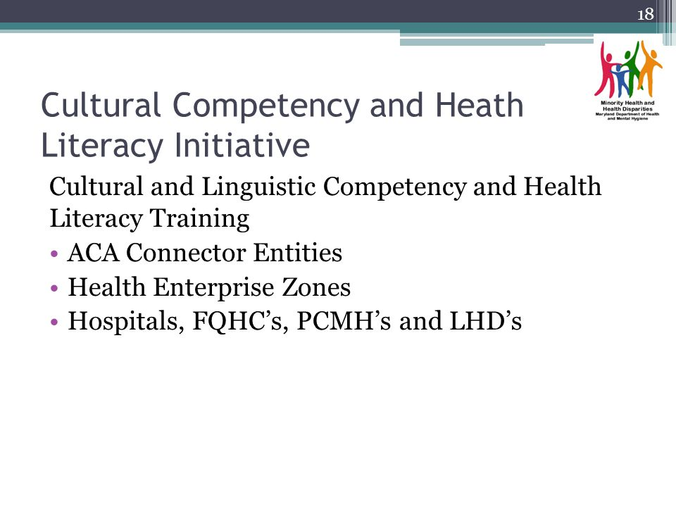 Cultural Competency and Heath Literacy Initiative Cultural and Linguistic Competency and Health Literacy Training ACA Connector Entities Health Enterprise Zones Hospitals, FQHCs, PCMHs and LHDs 18