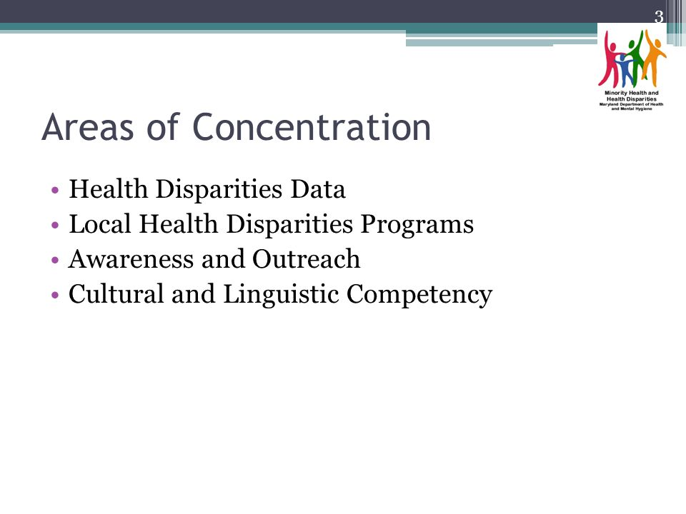 Areas of Concentration Health Disparities Data Local Health Disparities Programs Awareness and Outreach Cultural and Linguistic Competency 3
