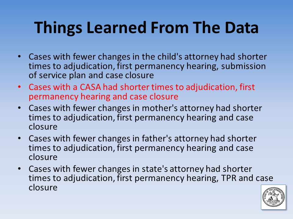 Things Learned From The Data Cases with fewer changes in the child s attorney had shorter times to adjudication, first permanency hearing, submission of service plan and case closure Cases with a CASA had shorter times to adjudication, first permanency hearing and case closure Cases with fewer changes in mother s attorney had shorter times to adjudication, first permanency hearing and case closure Cases with fewer changes in father s attorney had shorter times to adjudication, first permanency hearing and case closure Cases with fewer changes in state s attorney had shorter times to adjudication, first permanency hearing, TPR and case closure