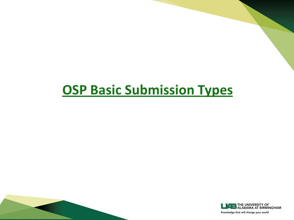 OSP Basic Submission Types