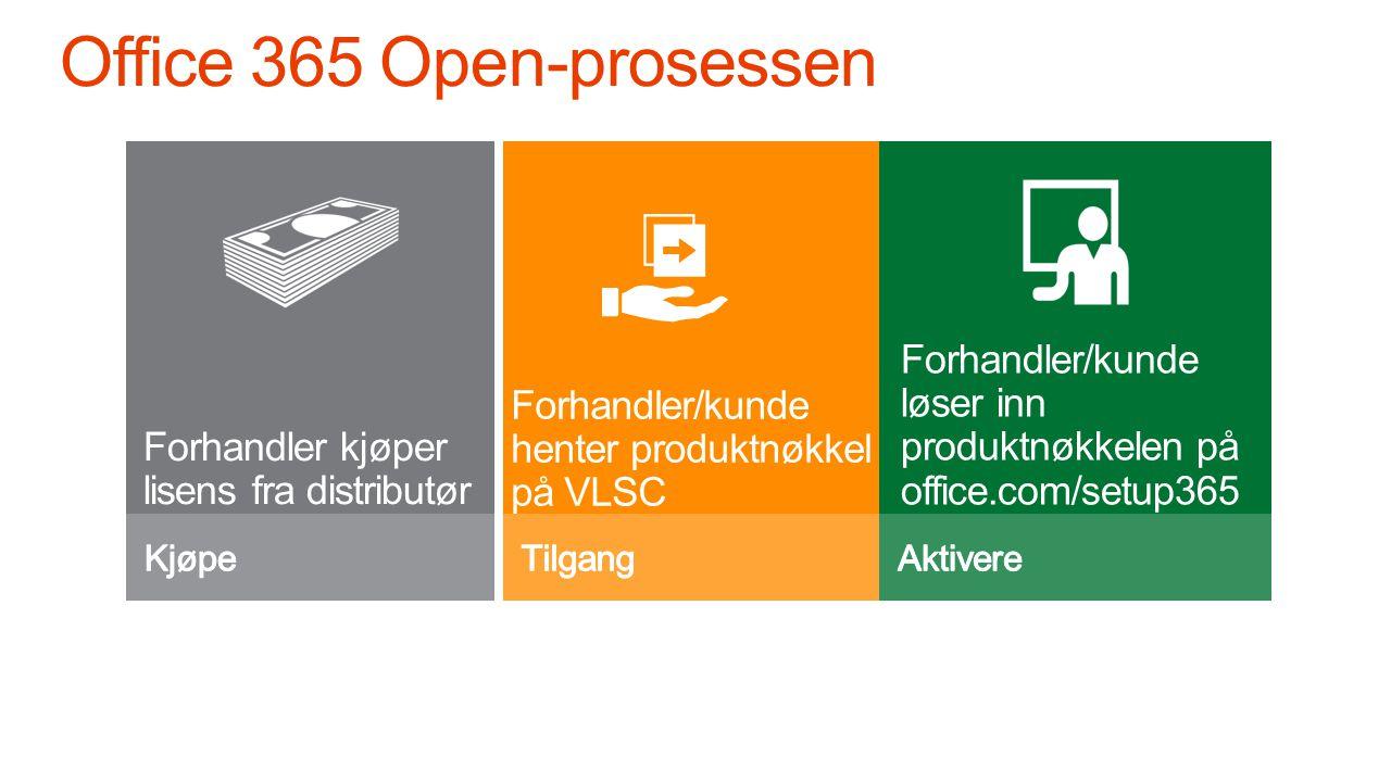 Forhandler kjøper lisens fra distributør Forhandler/kunde løser inn produktnøkkelen på office.com/setup365 Forhandler/kunde henter produktnøkkel på VLSC