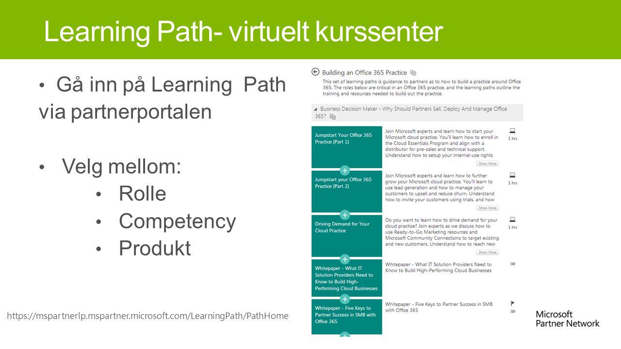 Gå inn på Learning Path via partnerportalen Velg mellom: Rolle Competency Produkt Learning Path- virtuelt kurssenter https://mspartnerlp.mspartner.microsoft.com/LearningPath/PathHome