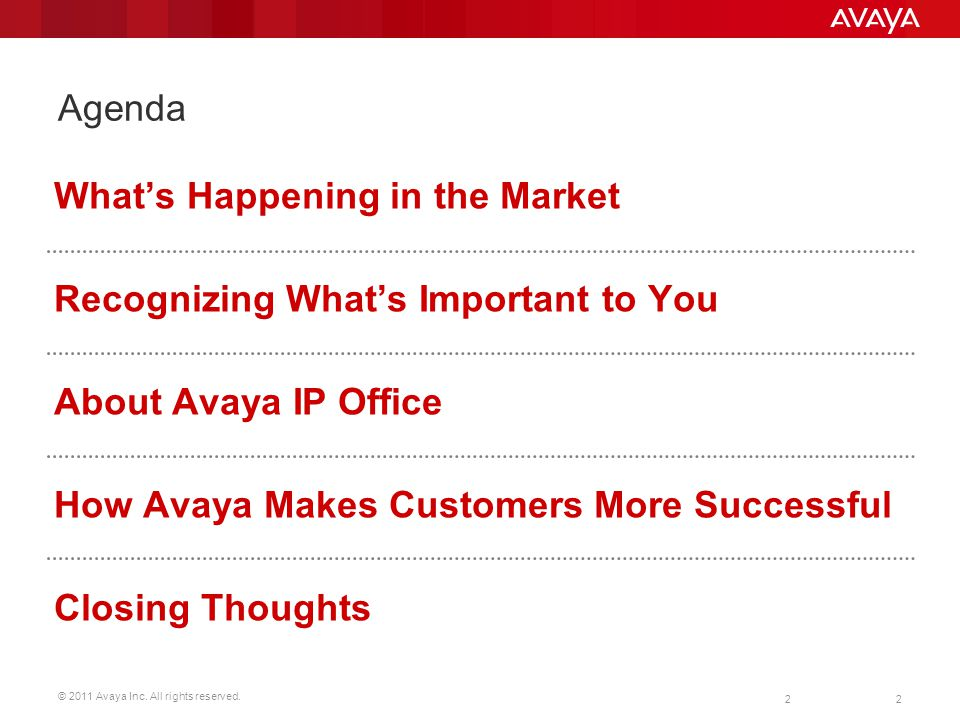 © 2011 Avaya Inc. All rights reserved. 2 Agenda 2 Whats Happening in the Market Recognizing Whats Important to You About Avaya IP Office How Avaya Mak