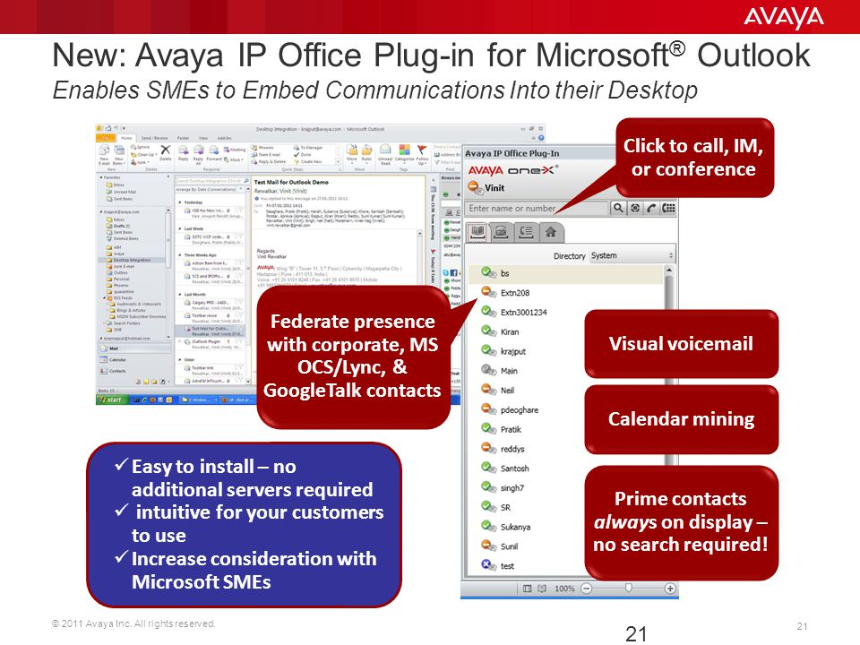 © 2011 Avaya Inc. All rights reserved. 21 Visual voicemail Easy to install – no additional servers required intuitive for your customers to use Increa