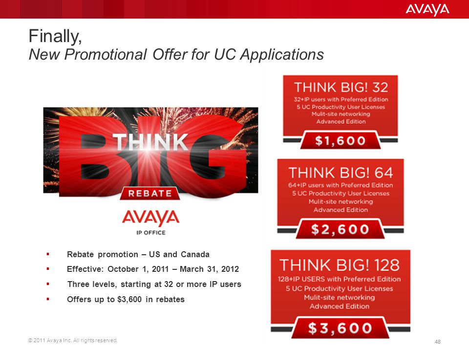 © 2011 Avaya Inc. All rights reserved. 48 Finally, New Promotional Offer for UC Applications Rebate promotion – US and Canada Effective: October 1, 20
