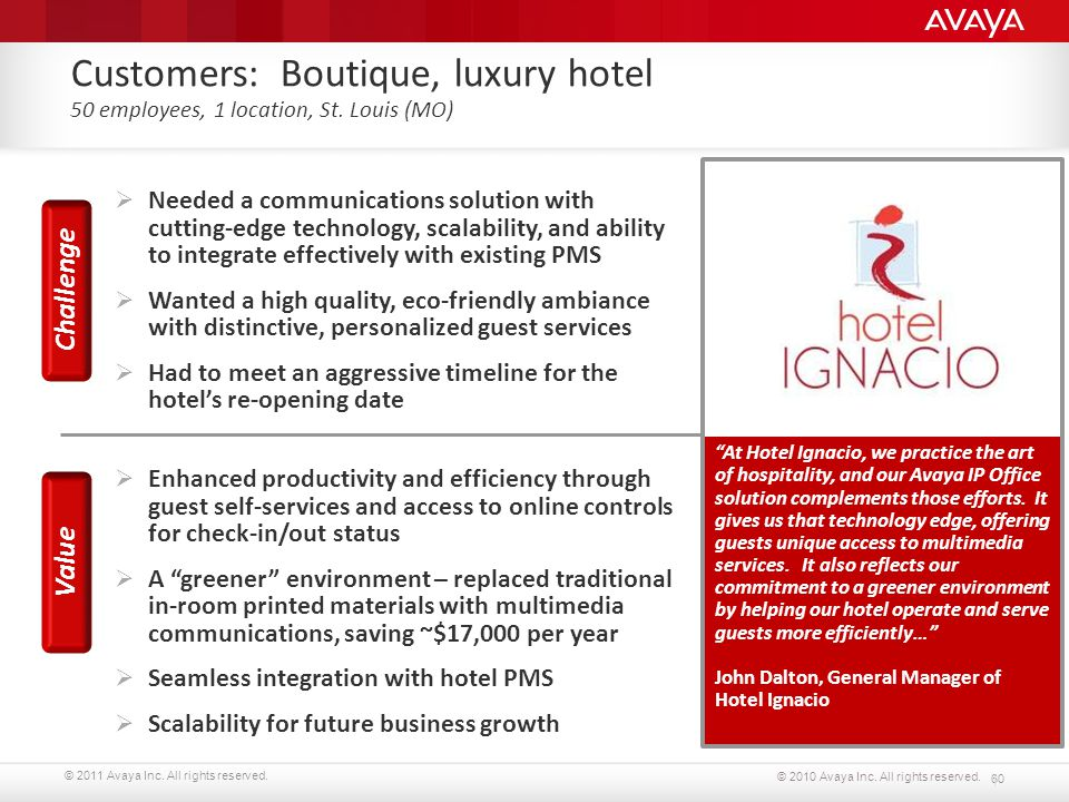 © 2011 Avaya Inc. All rights reserved. 60 © 2010 Avaya Inc. All rights reserved. Customers: Boutique, luxury hotel 50 employees, 1 location, St. Louis
