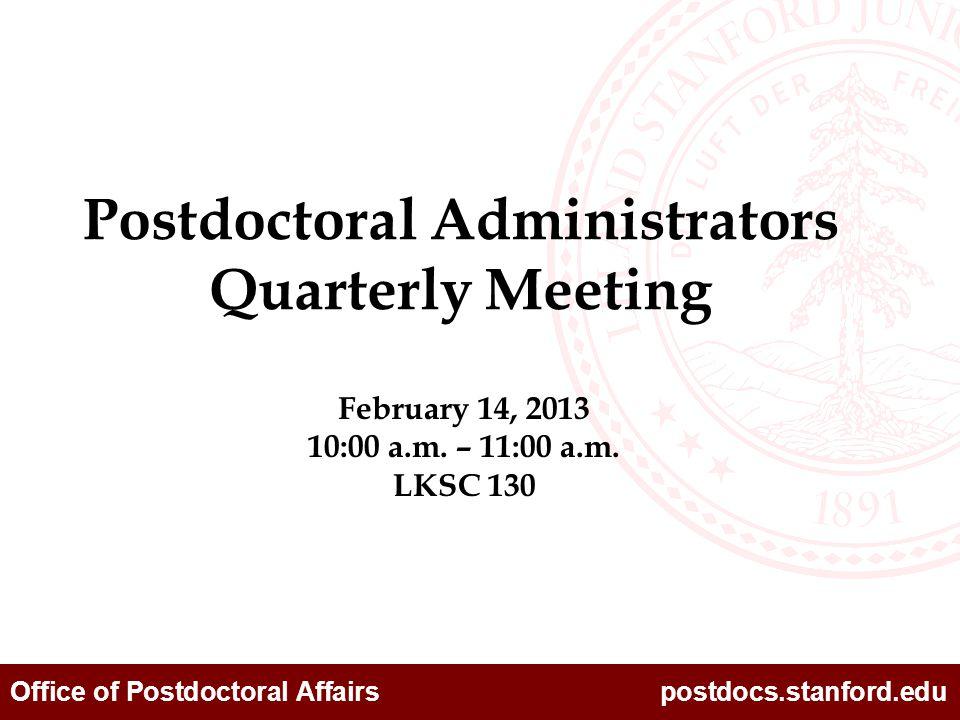 Office of Postdoctoral Affairs postdocs.stanford.edu Programs Laleh Rongere