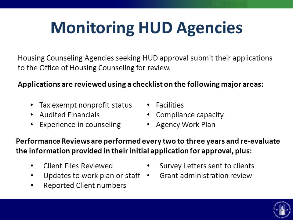 Housing Counseling Agencies seeking HUD approval submit their applications to the Office of Housing Counseling for review.