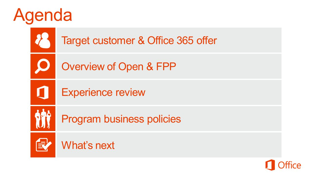 Target customer & Office 365 offer Overview of Open & FPP Experience review Program business policies Whats next