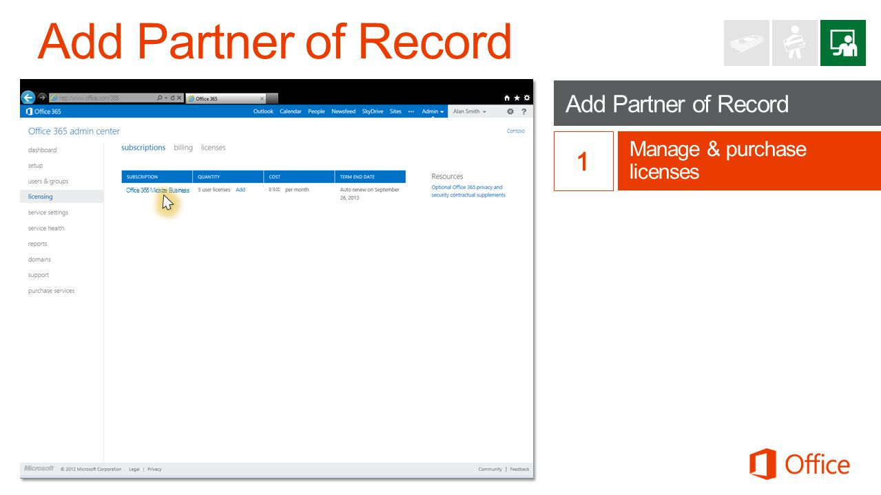Add Partner of Record Manage & purchase licenses http://www.office.com/365 Office 365 Midsize Business $15.00
