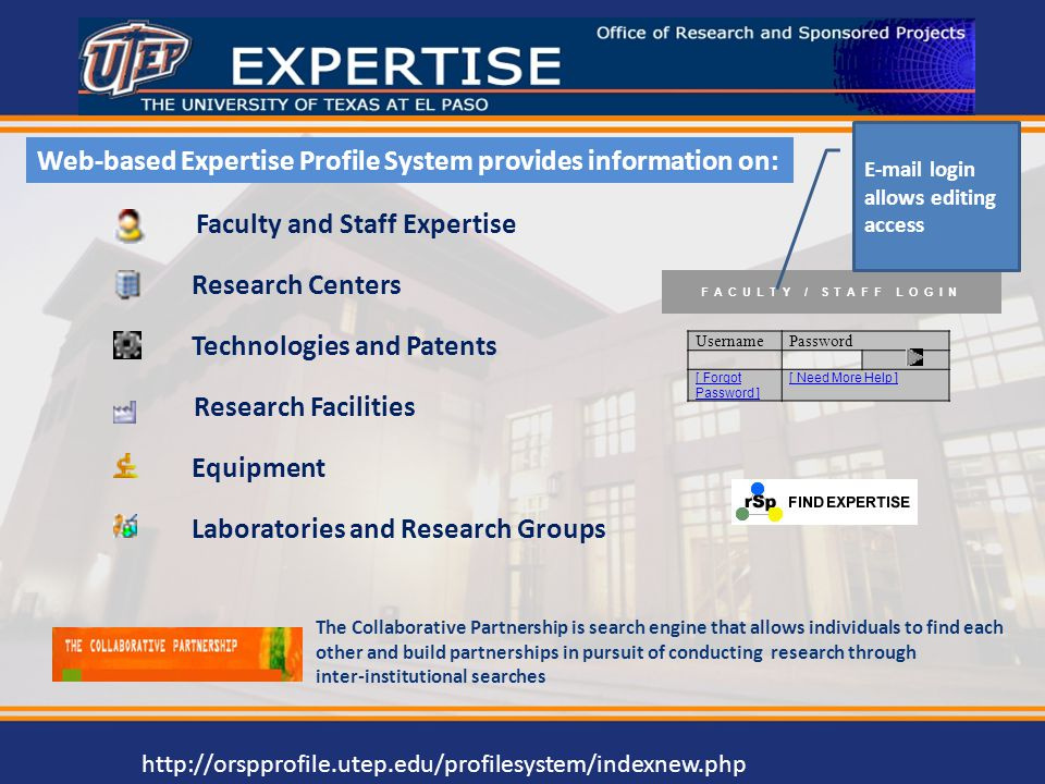 Faculty and Staff Expertise Research Centers Technologies and Patents Research Facilities Equipment Laboratories and Research Groups Web-based Experti