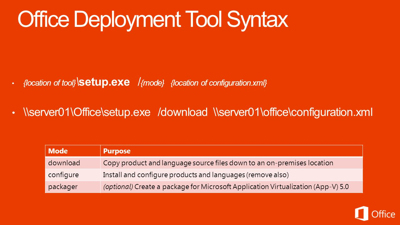 {location of tool} \setup.exe / {mode} {location of configuration.xml} \\server01\Office\setup.exe /download \\server01\office\configuration.xml ModePurpose downloadCopy product and language source files down to an on-premises location configureInstall and configure products and languages (remove also) packager(optional) Create a package for Microsoft Application Virtualization (App-V) 5.0