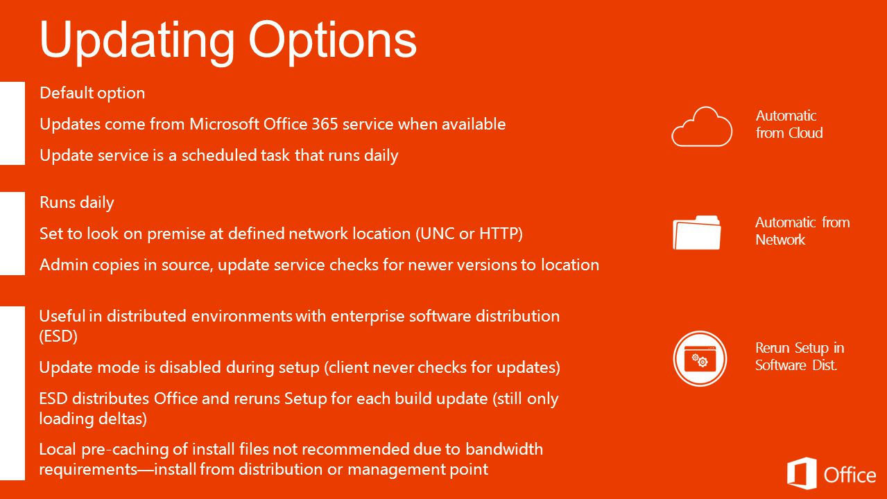 Automatic from Cloud Default option Updates come from Microsoft Office 365 service when available Update service is a scheduled task that runs daily Automatic from Network Runs daily Set to look on premise at defined network location (UNC or HTTP) Admin copies in source, update service checks for newer versions to location Rerun Setup in Software Dist.