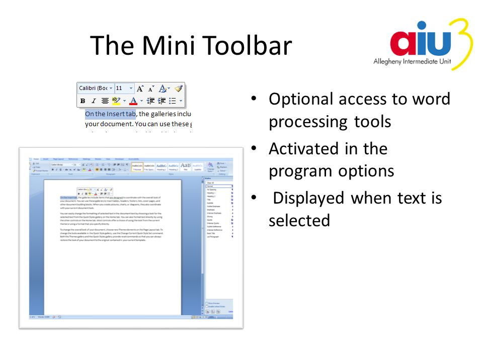 The Mini Toolbar Optional access to word processing tools Activated in the program options Displayed when text is selected