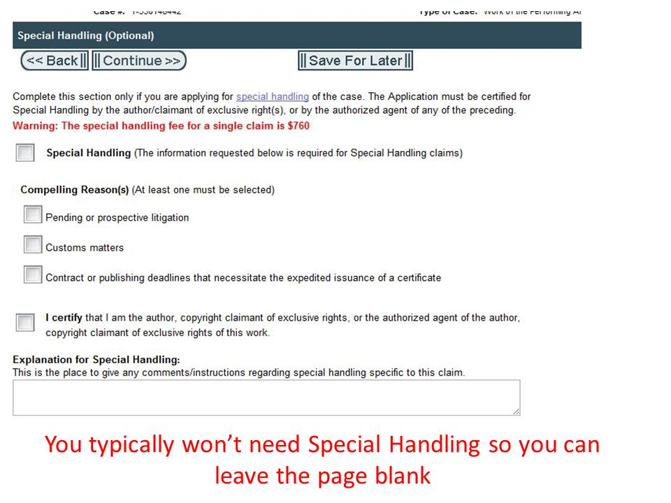 You typically wont need Special Handling so you can leave the page blank