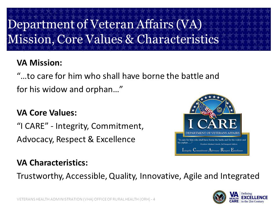 VETERANS HEALTH ADMINISTRATION (VHA) OFFICE OF RURAL HEALTH (ORH) - 5 What is the Department of Veterans Affairs (VA).