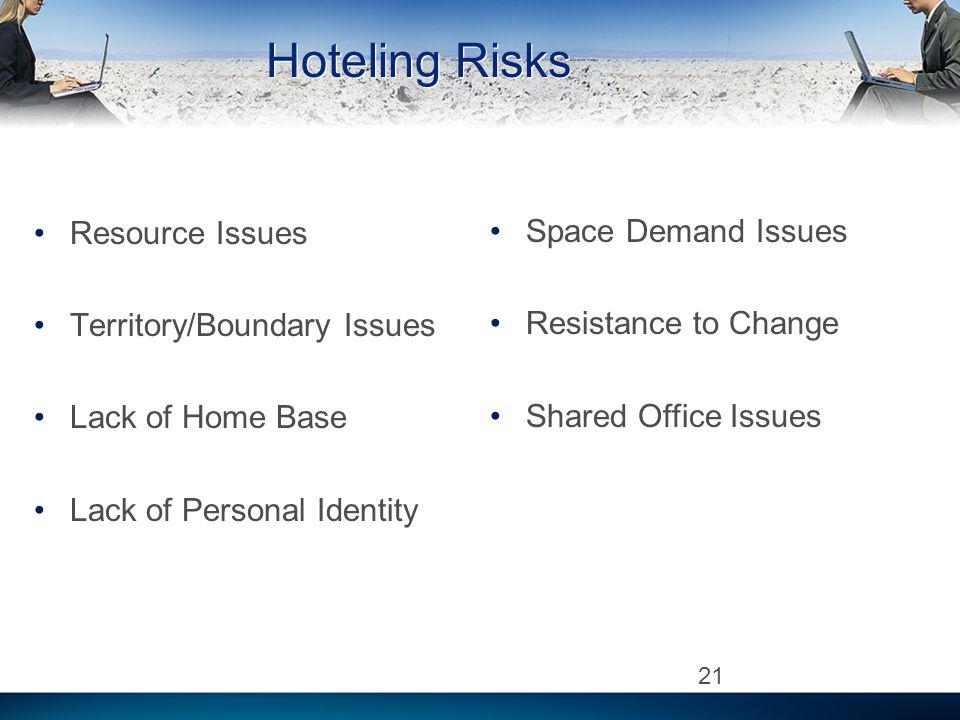 Hoteling Risks Resource Issues Territory/Boundary Issues Lack of Home Base Lack of Personal Identity 21 Space Demand Issues Resistance to Change Shared Office Issues