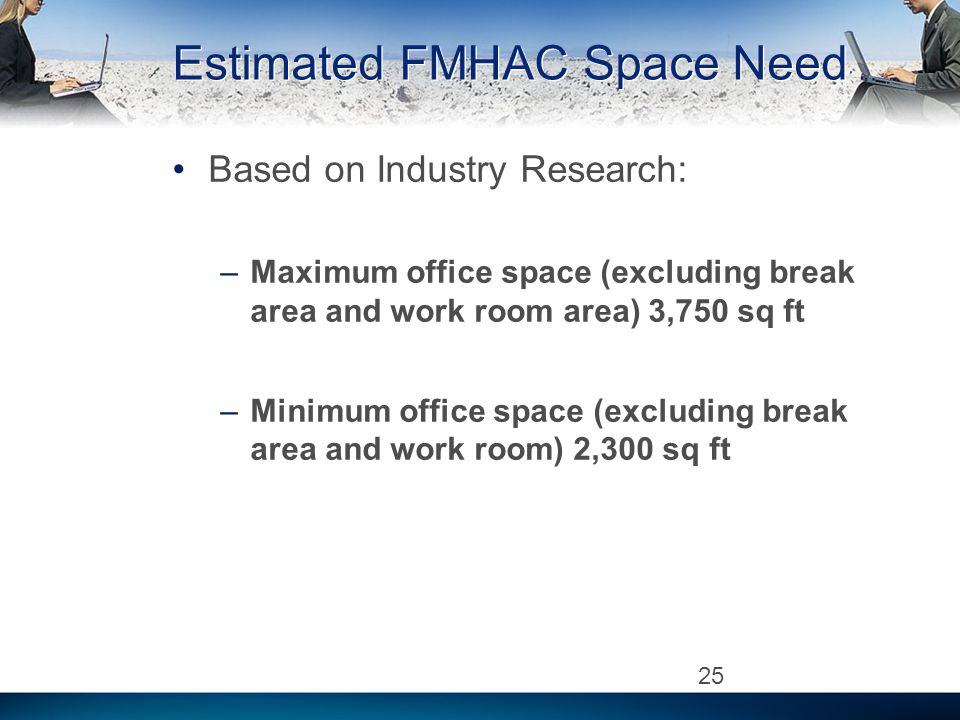Estimated FMHAC Space Need Based on Industry Research: –Maximum office space (excluding break area and work room area) 3,750 sq ft –Minimum office space (excluding break area and work room) 2,300 sq ft 25