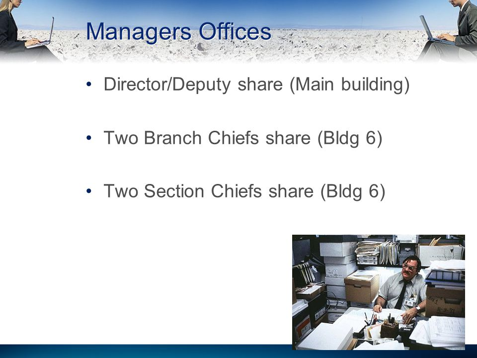 Managers Offices Director/Deputy share (Main building) Two Branch Chiefs share (Bldg 6) Two Section Chiefs share (Bldg 6) 27