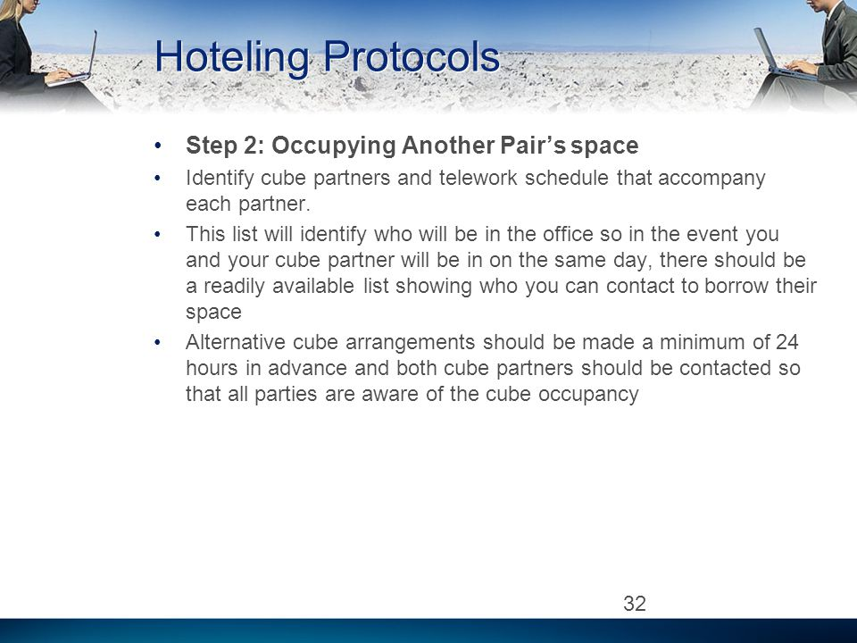 Hoteling Protocols Step 2: Occupying Another Pairs space Identify cube partners and telework schedule that accompany each partner.