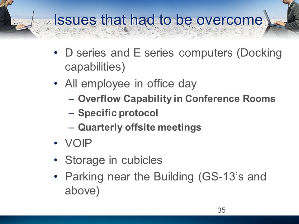 Issues that had to be overcome D series and E series computers (Docking capabilities) All employee in office day –Overflow Capability in Conference Rooms –Specific protocol –Quarterly offsite meetings VOIP Storage in cubicles Parking near the Building (GS-13s and above) 35