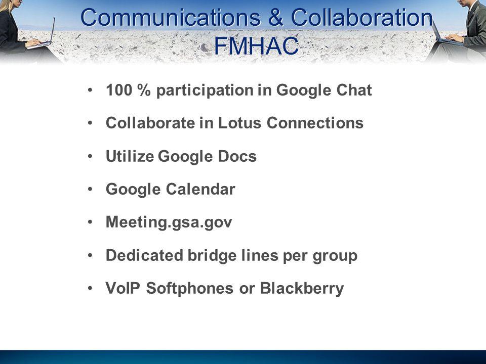 100 % participation in Google Chat Collaborate in Lotus Connections Utilize Google Docs Google Calendar Meeting.gsa.gov Dedicated bridge lines per gro