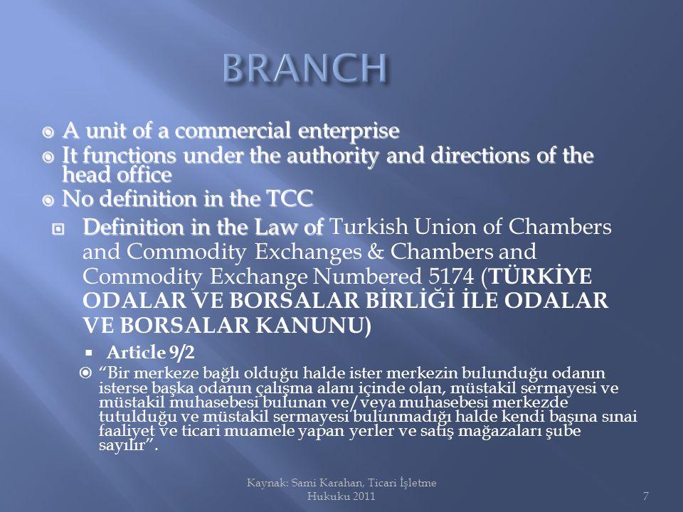 To qualify as a Branch : To qualify as a Branch : The unit The unit A.