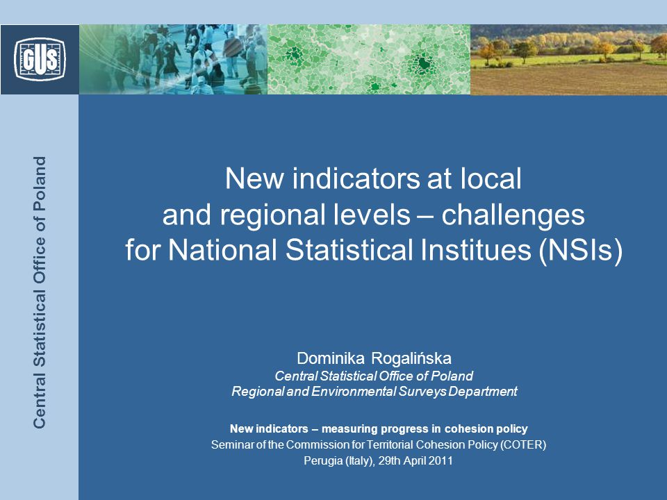 Central Statistical Office of Poland The role of indicators in a changing Europe (1) 2 Inclusive growth Sustainable growth Inteligent growth Europe 2020