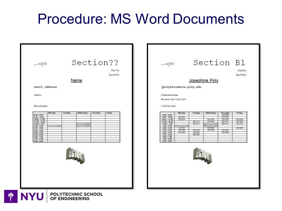 Procedure: MS Word Documents