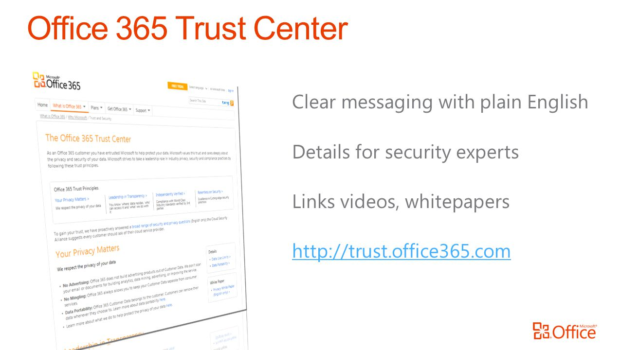 Office 365 Trust Center Clear messaging with plain English Details for security experts Links videos, whitepapers http://trust.office365.com