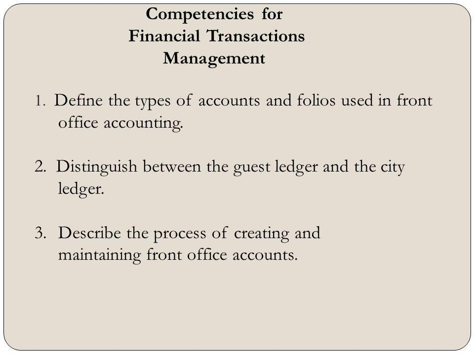 1. Define the types of accounts and folios used in front office accounting. 2. Distinguish between the guest ledger and the city ledger. 3.Describe th