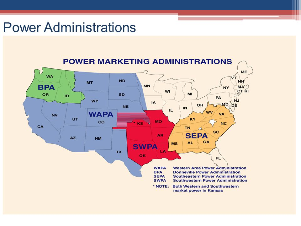 Power Administrations – Established in the early 1900s, sell excess electrical power produced at Federal water projects in order to repay the Governments investment in the projects.