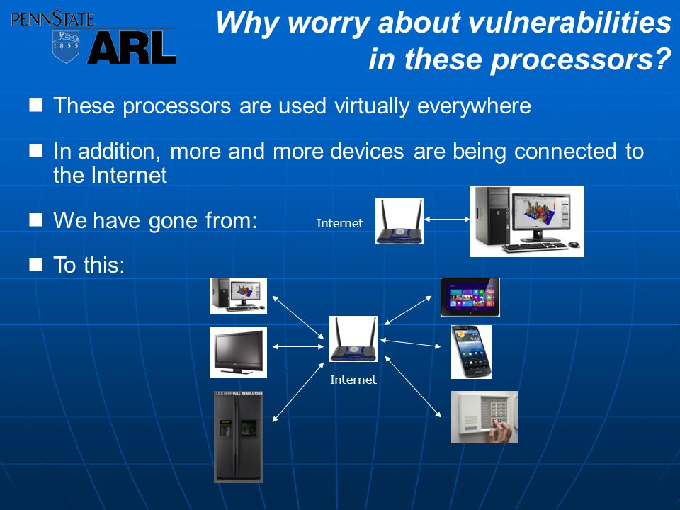 These processors are used virtually everywhere In addition, more and more devices are being connected to the Internet We have gone from: To this: Why worry about vulnerabilities in these processors.
