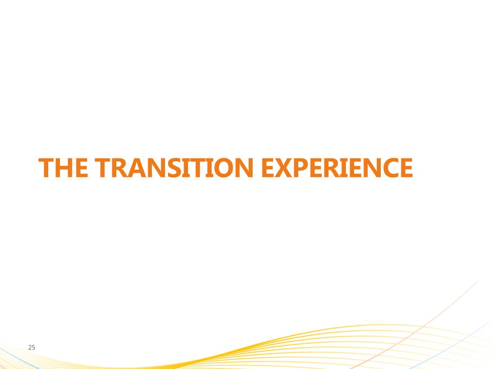 THE TRANSITION EXPERIENCE 25