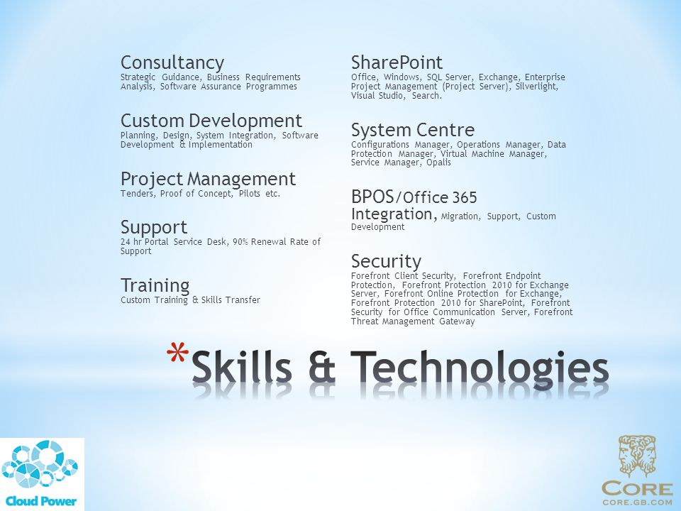 SharePoint Office, Windows, SQL Server, Exchange, Enterprise Project Management (Project Server), Silverlight, Visual Studio, Search.