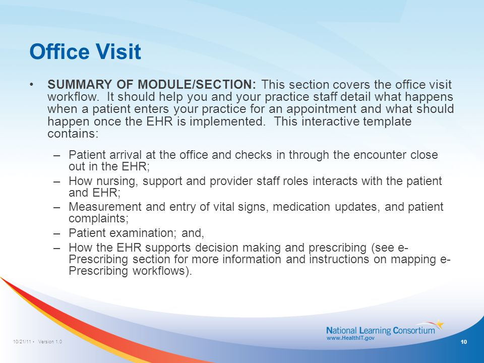 10/21/11 Version 1.0 www.HealthIT.gov Office Visit SUMMARY OF MODULE/SECTION: This section covers the office visit workflow. It should help you and yo