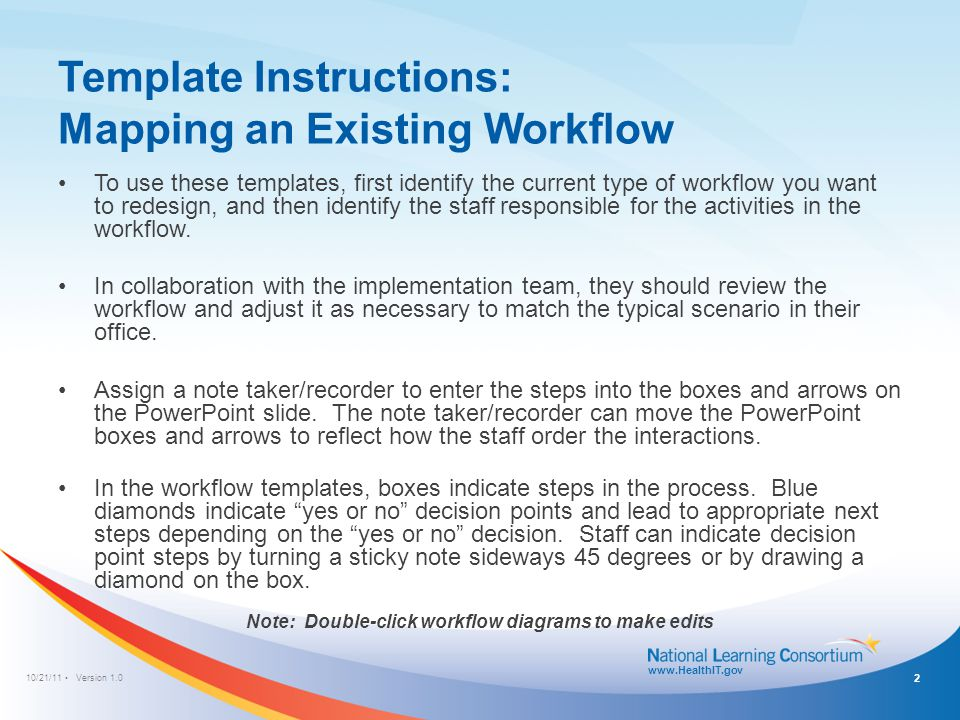 10/21/11 Version 1.0 www.HealthIT.gov Template Instructions : Examining Areas for Improvement After mapping existing workflows, the staff should ask themselves the following questions: – What are the best steps in the process.