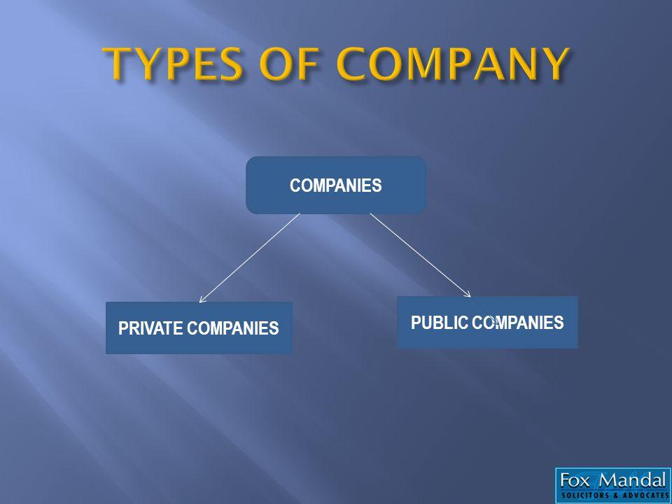 COMPANIES PRIVATE COMPANIES PUBLIC COMPANIES