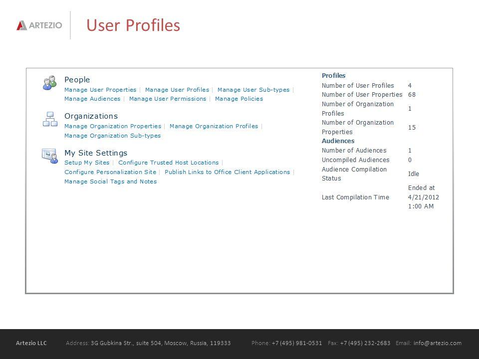 Artezio LLC Address: 3G Gubkina Str., suite 504, Moscow, Russia, 119333Phone: +7 (495) 981-0531 Fax: +7 (495) 232-2683 Email: info@artezio.com User Profiles