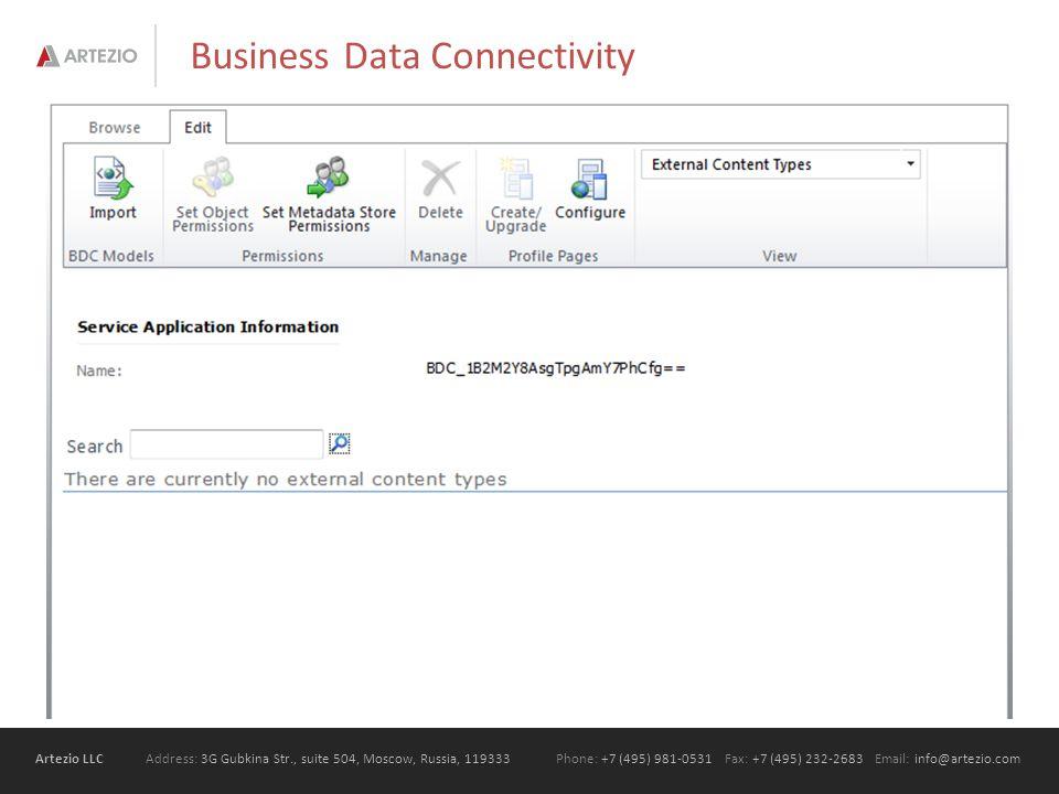 Artezio LLC Address: 3G Gubkina Str., suite 504, Moscow, Russia, 119333Phone: +7 (495) 981-0531 Fax: +7 (495) 232-2683 Email: info@artezio.com Business Data Connectivity