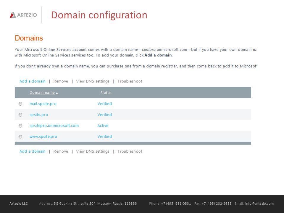 Artezio LLC Address: 3G Gubkina Str., suite 504, Moscow, Russia, 119333Phone: +7 (495) 981-0531 Fax: +7 (495) 232-2683 Email: info@artezio.com Domain configuration