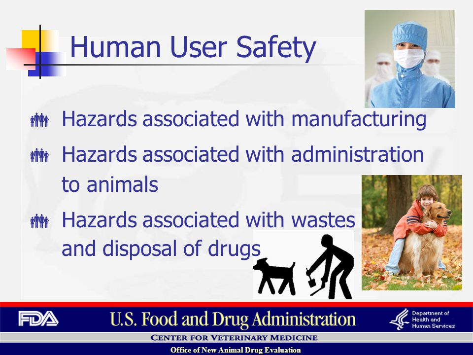 Office of New Animal Drug Evaluation Hazards associated with manufacturing Hazards associated with administration to animals Hazards associated with wastes and disposal of drugs Human User Safety