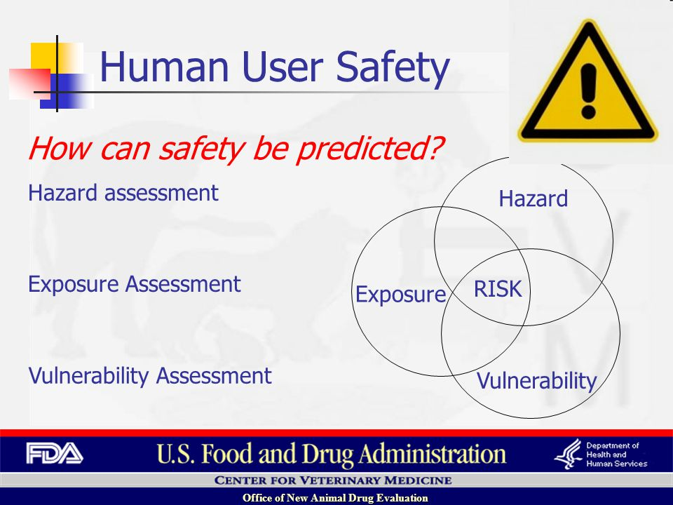 Office of New Animal Drug Evaluation Hazard Exposure Vulnerability RISK Exposure Assessment Vulnerability Assessment Hazard assessment How can safety be predicted.
