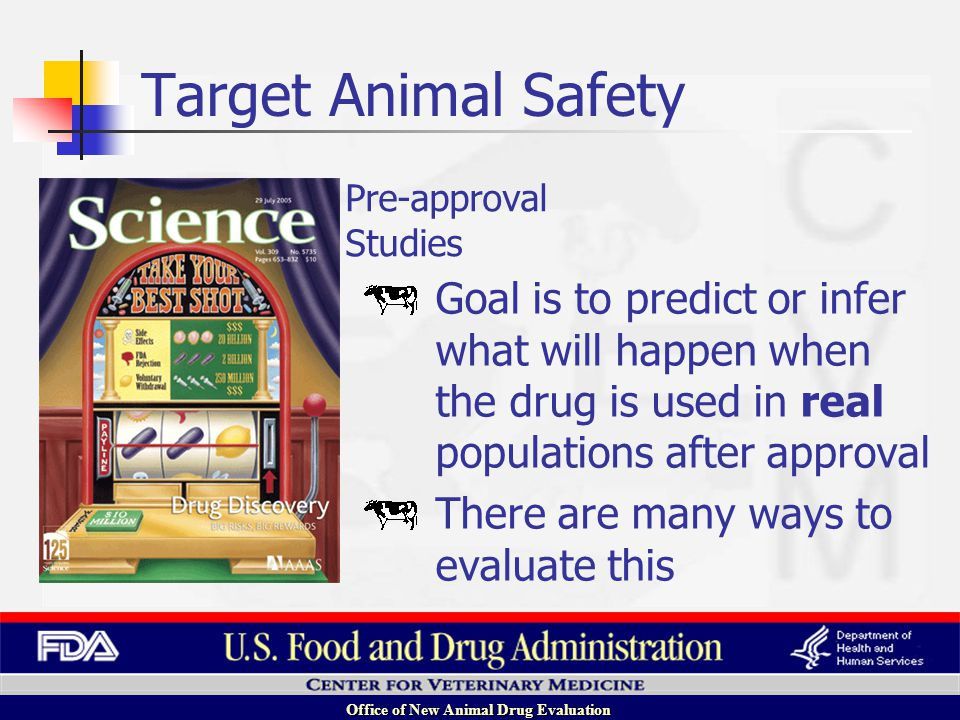 Office of New Animal Drug Evaluation Goal is to predict or infer what will happen when the drug is used in real populations after approval There are many ways to evaluate this Pre-approval Studies Target Animal Safety